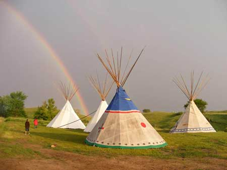 END OF THE RAINBOW. Marla Bull Bear, a graduate of SGU's master's program in human services, went on to found the Wicoti Tiwahe Camp, a cultural youth program that promotes Lakota values and healthy lifestyle choices. Photo by Marla Bull Bear